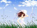 brown_hair dress hat highres itou_noiji short_hair summer sundress suzumiya_haruhi suzumiya_haruhi_no_yuuutsu wallpaper wind_turbine windmill