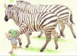 azuma_kiyohiko duplicate highres koiwai_yotsuba quad_tails yotsubato! zebra