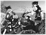 haruno_sakura hatake_kakashi monochrome naruto uchiha_sasuke uzumaki_naruto