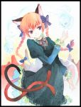 1girl agahari animal_ears black_dress blonde_hair border bow braid cat_ears cat_tail dress female floating_skull hair_bow hair_ribbon hands kaenbyou_rin multiple_tails red_eyes red_hair ribbon short_hair skull slit_pupils smile solo tail touhou traditional_media twin_braids twintails watercolor_(medium)