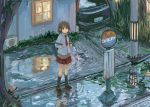 brown_eyes brown_hair bus_stop car motor_vehicle noji reflection school_bag school_uniform short_hair solo tree vehicle water window