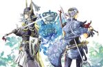 armor artist_request axe bandana bow_(weapon) cape crown dissidia_final_fantasy final_fantasy final_fantasy_i final_fantasy_ii frioniel horns jiscald looking_back mace male multiple_boys polearm ponytail shield smile soritari sowrd spear sword warrior_of_light weapon white_hair