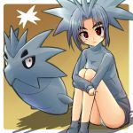 1girl lowres moemon panties pantyshot pantyshot_sitting personification pokemon pokemon_(creature) pokemon_(game) pokemon_gsc pupitar red_eyes sitting striped striped_panties tenjou_ryuka underwear