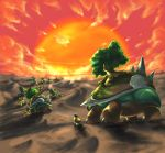 grotle nature no_humans pokemon pokemon_(game) pokemon_dppt sun torterra tree turtwig