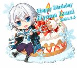 :d bangs birthday_cake black_footwear black_jacket blue_eyes boots cake character_name copyright_request dated doily eyebrows_visible_through_hair food fork hair_between_eyes happy_birthday holding holding_fork jacket long_sleeves looking_at_viewer magatama magatama_necklace nekozuki_yuki open_clothes open_jacket open_mouth pants puffy_long_sleeves puffy_pants puffy_sleeves purple_pants shirt shoe_soles silver_hair simple_background sleeves_past_wrists smile snowflakes white_background white_shirt