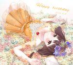 1girl absurdres bangs blush brown_eyes brown_hair collarbone dated dress dress_flower envelope eyebrows_visible_through_hair flower flower_wreath hair_flower hair_ornament happy_birthday head_wreath highres iino_miko jewelry kaguya-sama_wa_kokurasetai_~tensai-tachi_no_renai_zunousen~ long_hair looking_at_viewer lying necklace on_back orange_dress ponzu_(udon) purple_flower sleeveless sleeveless_dress smile solo white_flower