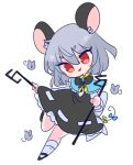 1girl animal_ears bangs basket black_footwear blue_bow blue_capelet bow capelet chibi dowsing_rod dress grey_dress grey_hair grey_skirt grey_vest highres jewelry layered_clothing long_sleeves mouse mouse_ears mouse_girl mouse_tail nazrin op_na_yarou pendant red_eyes shirt shoes short_hair skirt skirt_set smile socks tail touhou vest white_legwear white_shirt yellow_bow