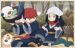 1boy 1girl berry_(pokemon) black_hair bowl bush commentary_request cyndaquil day female_protagonist_(pokemon_legends:_arceus) gen_2_pokemon gen_5_pokemon gen_7_pokemon genzou_(me_genzo) hat head_scarf holding holding_bowl long_hair male_protagonist_(pokemon_legends:_arceus) oshawott outdoors pokemon pokemon_(creature) pokemon_(game) pokemon_legends:_arceus red_headwear red_scarf rowlet sash scarf shoes sitting starter_pokemon tree undershirt white_headwear