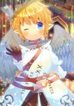 1girl ;) bangs blonde_hair blue_eyes blurry blurry_background blush brown_gloves brown_pants closed_mouth depth_of_field eyebrows_visible_through_hair feathered_wings final_fantasy final_fantasy_xiv gloves grey_wings hair_between_eyes kou_hiyoyo lalafell long_sleeves looking_at_viewer one_eye_closed pants pointy_ears short_hair smile solo white_robe wings