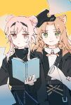 2girls absurdres animal_ears arknights belt black_dress black_hairband black_headwear book bow bowtie cat_ears chinese_commentary closed_mouth collared_shirt commentary_request dress earpiece eyebrows_visible_through_hair green_eyes hairband hand_on_another's_shoulder hat highres holding holding_book jitome lin_yuhsia_(arknights) long_sleeves looking_at_viewer mouse_ears multiple_girls open_book orange_hair orange_neckwear papers pink_eyes pink_hair sam_browne_belt shirt short_hair_with_long_locks simple_background sweatdrop swire_(arknights) upper_body white_shirt yellow_background zzzzoka
