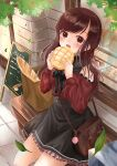1girl absurdres bag bakery bare_shoulders bench black_bow black_skirt blush bow bowtie bread brown_bag brown_hair cafe commentary_request eyebrows_visible_through_hair food frills highres holding holding_food leaves_in_wind long_hair long_sleeves looking_at_viewer melon_bread menu_board original outdoors paper_bag red_shirt restaurant riri526perc-lov shirt shop skirt smile solo