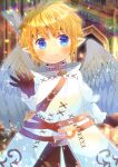 1girl bangs blonde_hair blue_eyes blurry blurry_background blush brown_gloves brown_pants closed_mouth commentary_request depth_of_field eyebrows_visible_through_hair feathered_wings final_fantasy final_fantasy_xiv gloves grey_wings hair_between_eyes kou_hiyoyo lalafell long_sleeves looking_at_viewer pants pointy_ears short_hair smile solo white_robe wings
