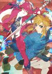 1boy 1girl blue_eyes blue_shirt chinese_clothes colored_skin earrings jewelry kandori_makoto link looking_at_viewer mipha pointy_ears pose red_skin shirt sidelocks smile staff the_legend_of_zelda the_legend_of_zelda:_breath_of_the_wild yellow_eyes