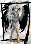 1girl absurdres animal_feet bangs belt between_breasts bird_tail bird_wings blonde_hair breasts character_name commentary english_commentary expressionless full_body green_eyes grey_legwear grey_shirt grey_shorts hair_between_eyes harpy highres kemono_friends kukuruyo medium_breasts monster_girl monsterification multicolored_hair necktie necktie_between_breasts open_clothes open_shirt patreon_username shirt shoebill_(kemono_friends) short_sleeves shorts single_sidelock solo white_neckwear winged_arms wings zoom_layer