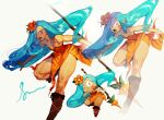 1girl absurdres bare_shoulders blue_hair boots brown_footwear copyright_request dress facial_mark fang highres holding holding_polearm holding_spear holding_weapon long_hair looking_at_viewer multiple_views open_mouth orange_dress orange_eyes pelvic_curtain pigeon666 polearm signature simple_background spear strapless strapless_dress very_long_hair weapon whisker_markings white_background