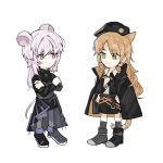 2girls animal_ears arknights belt black_cape black_dress black_footwear black_headwear black_skirt boots cape cat_ears chibi chinese_commentary closed_mouth commentary_request crossed_arms dress drill_hair expressionless eyebrows_visible_through_hair eyes_visible_through_hair full_body green_eyes grey_legwear hands_on_hips hat highres lin_yuhsia_(arknights) long_hair long_sleeves looking_at_another mouse_ears multiple_girls neck_ribbon orange_hair orange_neckwear pantyhose pink_eyes pink_hair ribbon shirt simple_background skirt smile standing swire_(arknights) tail tiger_tail turtleneck_dress white_background white_shirt zzzzoka