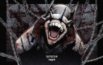 1boy absurdres batman_(series) blood bloody_clothes chain dc_comics head_tilt highres laughing mask open_mouth saliva sharp_teeth solo spikes straitjacket teeth terd the_batman_who_laughs