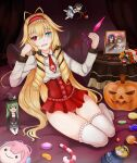 1girl :d blonde_hair candy candy_cane character_request cupid eyebrows_visible_through_hair hairband heterochromia holding holding_scissors lolipop low_twin_braids low_twintails miniskirt miuni necktie panties picture_frame pumpkin red_clothes red_pants smile solo thigh-highs thighs toy wings