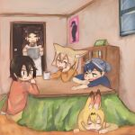 5girls :d =_= absurdres alternate_costume animal_ear_fluff animal_ears apron bangs black_hair blonde_hair blue_shirt bookshelf brown_eyes casual closed_eyes commentary common_raccoon_(kemono_friends) contemporary cup drooling extra_ears fennec_(kemono_friends) fox_ears grey_hair hair_between_eyes highres hippopotamus_(kemono_friends) indoors kaban_(kemono_friends) kajitsu_ohima kemono_friends kotatsu long_hair long_sleeves multicolored_hair multiple_girls open_mouth orange_shirt poster_(object) pot raccoon_ears red_shirt redhead serval_(kemono_friends) serval_ears shirt short_hair short_ponytail sitting sleeping smile table tatsuki_(person) under_kotatsu under_table |d