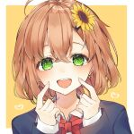 1girl :d ahoge bangs black_jacket bow bowtie brown_hair collared_shirt commentary_request eyebrows_visible_through_hair fingers_to_cheeks flower green_eyes hair_between_eyes hair_flower hair_ornament hands_up heart highres honma_himawari jacket long_sleeves looking_at_viewer nijisanji open_mouth portrait red_bow red_neckwear shirt short_hair simple_background smile solo sunflower sunflower_hair_ornament two-tone_background upper_teeth virtual_youtuber wako_morino white_shirt