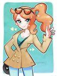 1girl aqua_eyes eyewear_on_head glasses highres image_sample jacket orange_hair pokemon pokemon_(game) pokemon_swsh sonia_(pokemon) touyarokii twitter_sample