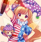 1girl american_flag_shirt arm_up artist_name bangs blonde_hair blue_pants blue_shirt closed_mouth clownpiece eyebrows_visible_through_hair fairy_wings fire fumo_(doll) hair_between_eyes hand_on_hip hand_up hat jester_cap lisa_(faeuna) long_hair looking_at_viewer multicolored multicolored_clothes multicolored_shirt open_mouth pants purple_headwear red_eyes red_shirt shirt short_sleeves simple_background smile solo star_(symbol) star_print striped striped_shirt torch touhou white_shirt wings yellow_background