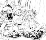 bewear gen_1_pokemon gen_2_pokemon gen_7_pokemon greyscale james_(pokemon) jessie_(pokemon) kakiyakee_(k_key_5) litten mareanie meowth monochrome pokemon pokemon_(anime) rain smile water water_drop wobbuffet