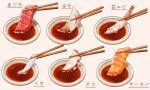chopsticks commentary_request fish food food_focus highres kaneko_ryou no_humans octopus original realistic salmon sashimi saucer shrimp simple_background symbol_commentary translation_request white_background