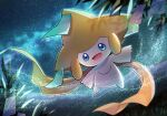 :d blue_eyes blurry commentary_request floating gen_3_pokemon grass highres jirachi leaf looking_at_viewer mythical_pokemon night no_humans open_mouth outdoors outstretched_arms pokemon pokemon_(creature) ribbon sky smile solo star_(sky) tongue yellow_ribbon yukichi_(tsuknak1)