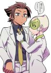 2boys adjusting_neckwear aether_foundation_employee alternate_costume belt blonde_hair brown_hair chacha_(ss_5087) closed_mouth collared_shirt commentary_request faba_(pokemon) facial_hair frown goatee green_shirt grey_belt grey_eyes grey_shirt jacket male_focus multiple_boys necktie open_clothes open_jacket pants pokemon pokemon_(game) pokemon_sm shirt short_hair simple_background speech_bubble sweatdrop translation_request white_background white_jacket white_pants yellow_neckwear