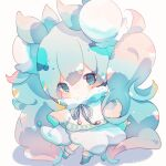 1girl ainu_clothes aqua_eyes aqua_hair blush boots capelet chibi commentary dot_mouth dress expressionless flower full_body fur-trimmed_boots fur-trimmed_capelet fur_trim fuyuzuki_gato hair_flower hair_ornament hatsune_miku highres lily_of_the_valley long_hair looking_at_viewer neck_ribbon ribbon solo standing twintails very_long_hair vocaloid white_capelet white_dress white_flower yuki_miku yuki_miku_(2015)