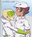 2boys aether_foundation_employee blonde_hair bracer brown_hair chacha_(ss_5087) coat commentary_request dark-skinned_male dark_skin faba_(pokemon) facial_hair from_side gloves goatee green-tinted_eyewear green_shirt grey_eyes hat height_difference jumpsuit male_focus multiple_boys open_mouth pokemon pokemon_(game) pokemon_sm shirt short_hair short_sleeves sleeves_rolled_up smile sunglasses tongue translation_request undershirt white_coat white_gloves white_headwear white_jumpsuit