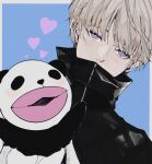 1boy bangs black_jacket blonde_hair blue_background covered_mouth hand_puppet hand_up heart high_collar highres inumaki_toge jacket jujutsu_kaisen looking_at_viewer male_focus oioi_mmkmt panda_(jujutsu_kaisen) puppet short_hair simple_background solo upper_body violet_eyes