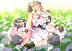 1girl absurdres ahoge animal animal_ears bangs bare_shoulders benchen06 black_footwear blonde_hair boots bow bowtie breasts cape curled_horns day detached_sleeves dress eyebrows_visible_through_hair field flower flower_field fluffy from_above fur-trimmed_boots fur-trimmed_cape fur-trimmed_dress fur-trimmed_sleeves fur_collar fur_trim glowstick grass grey_fur hair_between_eyes hair_flower hair_ornament hair_ribbon hairpin head_wreath highres hololive horns large_breasts long_hair looking_at_viewer petals pink_cape pink_ribbon puckered_lips red_bow ribbon sheep sheep_ears sheep_girl sheep_horns sitting star-shaped_eyewear sunflower sunglasses sunlight tsunomaki_watame violet_eyes virtual_youtuber wariza white_dress white_fur