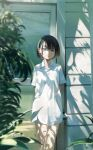 1girl arms_behind_back bangs bare_legs black_hair blue_eyes bob_cut building bush closed_mouth collared_shirt commentary cowboy_shot door english_commentary highres hose light_smile litra_(ltr0312) looking_at_viewer no_pants original outdoors plant shade shirt short_hair short_sleeves solo white_shirt