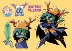 1boy adventure_time antlers arrow_(projectile) blonde_hair blue_shirt boots character_name closed_mouth colored_sclera colored_skin domino_mask finn_the_human full_body glowing_arrow green_eyes green_hair green_sclera green_skin hat headwear_switch highres holding holding_arrow huntress_wizard looking_away mask multiple_girls open_mouth plant_hair rariatto_(ganguri) shirt slit_pupils smile standing thigh-highs thigh_boots yellow_background