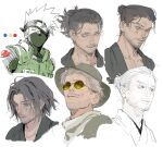 6+boys beard blue_eyes character_request closed_mouth color_guide copyright_request facial_hair glasses grey_hair grin hair_bun hat headband highres looking_at_viewer male_focus mask medium_hair mouth_mask multiple_boys mustache naruto naruto_(series) old old_man one_eye_covered round_eyewear sankomichi scar scar_across_eye simple_background smile sunglasses white_background white_eyes yellow-tinted_eyewear