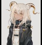 1girl animal_ears arknights artist_name beeswax_(arknights) black_collar character_name collar dark-skinned_female dark_skin dated goat_ears goat_girl goat_horns grey_background horns infection_monitor_(arknights) jacket long_hair looking_at_viewer nstlgie parted_lips pillarboxed shirt solo upper_body white_hair white_jacket white_shirt yellow_eyes