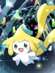 :d blurry commentary_request gen_3_pokemon green_ribbon highres jirachi light mythical_pokemon no_humans open_mouth outstretched_arms pokemon pokemon_(creature) ribbon saki_pokeoekaki smile solo tongue twitter_username