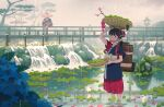 1boy 1girl absurdres arm_up backpack bag basket black_hair blue_flower blue_kimono bridge brown_eyes chin_strap clouds cloudy_sky commentary_request crossed_legs eyebrows_visible_through_hair flower hair_bun hair_flower hair_ornament hat highres huge_filesize japanese_clothes kimono looking_at_viewer natsu3summer obi original outdoors pants parted_lips pink_flower pond rain red_pants rice_hat sash sitting sitting_on_railing sky sleeves_rolled_up standing stone_lantern tree wading water waterfall