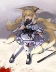 1girl absurdres animal_ears arknights belt black_collar black_footwear black_gloves blonde_hair blood blood_on_face bloody_clothes blue_hairband collar covering_mouth crying dress earpiece fox_ears fox_girl fox_tail gloves green_eyes hairband highres infection_monitor_(arknights) kitsune kyuubi multiple_tails nys oripathy_lesion_(arknights) pantyhose purple_dress short_hair single_glove single_wrist_cuff sitting solo stick suzuran_(arknights) tail utility_belt white_legwear white_wrist_cuffs wrist_cuffs