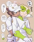 2boys aether_foundation_employee blonde_hair blush bracer brown_background brown_hair chacha_(ss_5087) closed_mouth coat commentary_request dark-skinned_male dark_skin faba_(pokemon) facial_hair gloves goatee green-tinted_eyewear green_shirt hat logo lower_teeth male_focus multiple_boys open_mouth pokemon pokemon_(game) pokemon_sm shirt short_hair simple_background smile speech_bubble sunglasses sweatdrop thought_bubble tongue translation_request undershirt white_coat white_gloves white_headwear