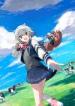 1girl absurdres ascot badge bag blazer blue_jacket blue_skirt blue_sky cevio clouds commentary cow cup day double_bun dutch_angle fence field grass grey_hair grey_sweater hair_ornament hairclip highres hitogome holding holding_cup holding_spoon horns jacket kneehighs koharu_rikka lakiston looking_at_viewer looking_to_the_side miniskirt open_mouth outdoors outstretched_arm pink_footwear pink_neckwear pleated_skirt red_eyes school_uniform short_hair shoulder_bag skirt sky smile solo spoon stuffed_animal stuffed_toy sweater synthesizer_v teddy_bear walking yogurt