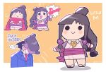... 1boy 1girl :> ayasato_mayoi blue_jacket blush border chibi closed_mouth face_hug gyakuten_saiban highres jacket japanese_clothes kimono looking_at_viewer multiple_views naruhodou_ryuuichi obi objection outline pink_kimono pink_sash rariatto_(ganguri) red_scarf sash scarf simple_background smile solid_circle_eyes spoken_ellipsis tomoe_(symbol) topknot twitter_username white_border white_outline yellow_background