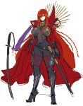 1girl armor bangs black_armor black_bodysuit bodysuit breastplate cape chain collared_cape eyebrows_visible_through_hair fate/grand_order fate_(series) full_body greaves hair_over_one_eye high_heels highres katana long_hair looking_to_the_side medallion melon22 oda_nobunaga_(fate)_(all) oda_nobunaga_(maou_avenger)_(fate) planted planted_sword red_cape red_eyes sheath simple_background skin_tight solo sword weapon white_background