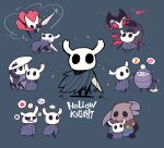 ... 6+others absurdres blue_cape cape character_request glint grimm_(hollow_knight) highres holding holding_pickaxe hollow_eyes hollow_knight hornet_(hollow_knight) horns knight_(hollow_knight) looking_at_viewer mask mask_on_head multiple_others musical_note nail quirrel rariatto_(ganguri) red_cape sitting smile spoken_ellipsis spoken_expression spoken_musical_note spoken_squiggle squiggle