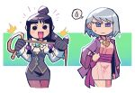 2girls :d =3 @_@ ^^^ absurdres black_gloves blue_eyes blush_stickers bob_cut brown_legwear character_request closed_mouth cowboy_shot earrings floating_earring gloves grey_skirt grey_vest gyakuten_saiban halftone hand_on_hip hands_up haori highres holding holding_whip japanese_clothes jewelry juliet_sleeves long_sleeves looking_at_viewer medium_hair miniskirt mole mole_under_eye multiple_girls necklace notice_lines open_mouth pantyhose puffy_sleeves rariatto_(ganguri) sash shirt skirt smile solid_circle_eyes spoken_sweatdrop standing sweatdrop tomoe_(symbol) topknot vest white_shirt