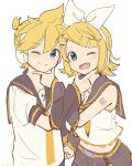 1boy 1girl arm_warmers bangs bare_shoulders bass_clef black_collar black_shorts blonde_hair blue_eyes bow collar commentary crop_top fang grey_collar grey_shorts grey_sleeves hair_bow hair_ornament hairclip hand_on_another's_chin headphones highres holding_hands kagamine_len kagamine_rin looking_at_viewer m0ti midriff nail_polish navel neckerchief necktie one_eye_closed open_mouth sailor_collar school_uniform shirt short_hair short_ponytail short_sleeves shorts shoulder_tattoo sleeveless sleeveless_shirt smile spiky_hair swept_bangs symmetry tattoo treble_clef upper_body vocaloid white_background white_bow white_shirt yellow_nails yellow_neckwear
