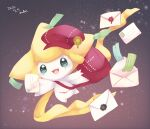 :d bag commentary_request dated envelope gen_3_pokemon green_eyes green_ribbon hat hatted_pokemon holding holding_envelope jirachi mkt_(buizu-miki) mythical_pokemon no_humans open_mouth pokemon pokemon_(creature) red_bag red_headwear ribbon shoulder_bag smile solo tongue wax_seal