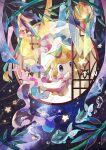 bamboo coco7 dot_mouth finneon gen_3_pokemon gen_4_pokemon hiding jirachi lantern leaf looking_at_viewer mythical_pokemon pokemon ribbon star_(sky) star_(symbol) violet_eyes water window